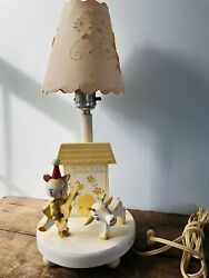 Vintage Wooden Lamp Hey Diddle Diddle Nursery Rhyme Cat Fiddle Cow Yellow 1960#x27;s $15.99