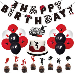 Skateboard Birthday Party Supplies Decoration Kits Theme Party for Skateboarders $22.96