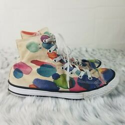 Converse All Star Girls sz 4 Polka Dot high top sneakers Shoes $18.00