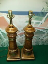 Pair of vintage wooden lamps 23.5quot; Tall w 7quot;x7quot; base weight = 8.9Lbs each $99.99
