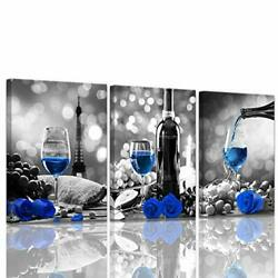 Wine Decor Kitchen Canvas Art Blue Wine Rose Artwork for Home Walls Black and... $40.69