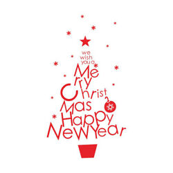 DIY We Wish You a Merry Christmas and Happy New Year Home Stickers Removable Dec $6.49