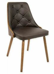 LumiSource Gianna Contemporary Dining Chair in Walnut and Brown $129.99