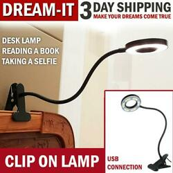 USB Desk Lamp Clip on Table Selfie Ring Light Video Makeup Reading Lights Bed Ni $14.59