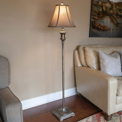 Antique Floor Lamp 60 In Gold Bronze Faux Silk Round Bell Shade 150W 3 Way Light $47.69