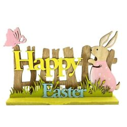 Happy Easter Wooden Bunny Standing Party Decorations Sign Tabletop Home Decor $11.99