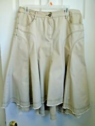 GREAT SKIRT FOR BOOTS SZ 12 KHAKI PANEL FLAIR DROP BACK 32 X 25 FRONT 29 BACK $12.00