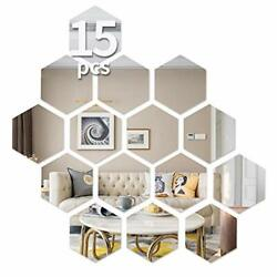 Hexagon Wall Decals Mirror Wall Stickers15 PCS Large Removable Acrylic $17.75