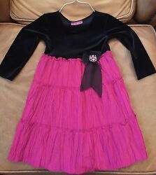 Le Pink Designer Girls Winter Dressy Dress Size 5 Black amp; Dark Pink