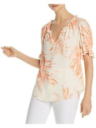 JOIE Womens Pink Floral Short Sleeve V Neck T Shirt Size: S $42.99