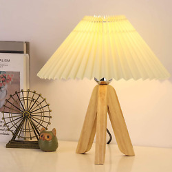 HAITRAL Tripod Table Lamp Small Wooden Bedside Table Lamp with Pleated Shade C $25.97