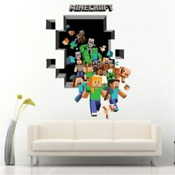 3D POPULA GAME MINECRAFT WALL STICKER FOR KIDS ROOMS DECAL CARTOON HOME NEW KIDS $13.99