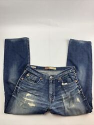 Big Star Mens Pioneer Boot Cut Jeans Buckle Size 34R 34x29 Distressed Rips $26.00