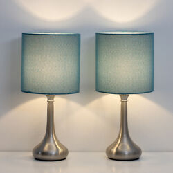 Set of 2 Bedside Table Lamps Modern Design Line Fabric Lampshade Metal Lamp Base $29.99