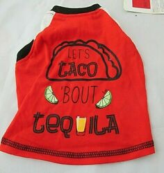 Top Paw Dog Shirt Let#x27;s Taco #x27;Bout Tequila Size Small Red White Blue NWT T Shirt $8.25