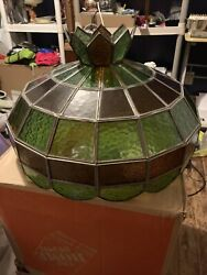 Tiffany Style Swag Stained Blue amp; Green Glass Lamp Hanging Shade Look 👀 $65.00