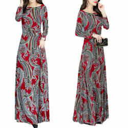 Women#x27;s Floral Long Sleeve Maxi Dress Casual Party Gown Cocktail Long Dresses US $20.49