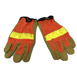 MCR Memphis Leather Work Gloves *XL* High Visibility Orange Safety Leather Mesh $7.89