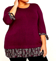 Catherines NWT Long Soft Comfy Stretch Layered Look Top Plus 3X Deep Berry Wine $19.00