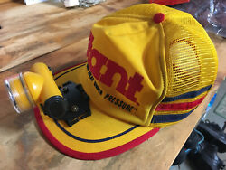 Miner#x27;s light head lamp on a Yellow Stant snapback cap One of a kind Made in USA $18.95