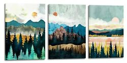 Abstract Wall Art Forest Mountain Watercolor Wall Paintings for Bathroom Bedroom $39.98
