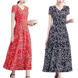Womens Summer Floral Short Sleeve A Line Dress Slim Casual Party Long Dresses US $17.09