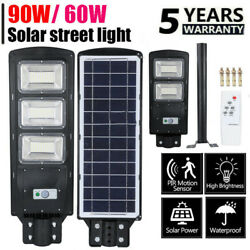 Super Bright Commercial Solar Street Light LED Outdoor Dusk to Dawn Road Lamp US