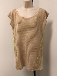 A#x27;Reve Womens Short sleeveless Sleeve Beige Top lace accents size large $4.99