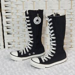 Converse All Star Kids 10.5 Sneaker Boot Black Knee High Lace up Zip Junior $24.99