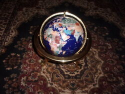 Mother of Pearl Gemstone BRASS Desk Top GLOBE With Compass 12quot; Tall $64.00