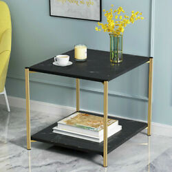 2 Tier Square Coffee Table Glass Top Sofa Side End Table Home Decor Furniture US $49.99