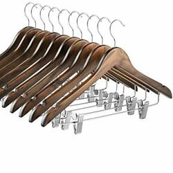 High Grade Wooden Suit Hangers Skirt Hangers with Clips 10 Pack Smooth Solid W $28.85