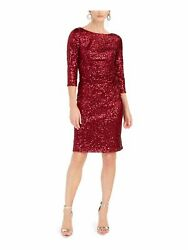 JESSICA HOWARD Womens Red Long Sleeve Knee Length Sheath Cocktail Dress 12 $7.99