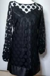 Laundry Shelli Segal A Line Dress Black Polka Dot Sheer Party Cocktail Size 4 $19.99