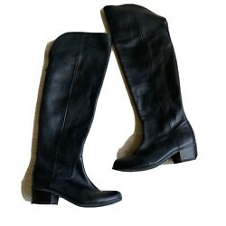 INC International Concepts Womens Boots Black Leather Sz 6.5 Berverley Over Knee $39.95