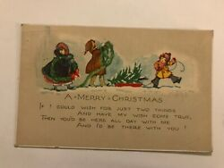 A Merry Christmas Kids with Tree and Decoration Postcard $14.99