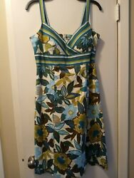 Madison Leigh Summer Dress Floral Green Sleveless Size 8 $9.95