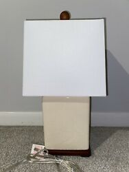"RALPH LAUREN Asian Lamp IVORY BEIGE Porcelain Chinoiserie Oriental 16"" NWT $69.00"