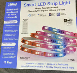 NEW Feit Electric Smart LED Strip Light 16 Feet RGB Color Indoor Outdoor Remote $18.95