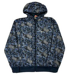 Nike Camouflage Camo Jacket Blue Windbreaker Men's Size Large Hooded Jacket B7
