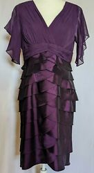 Adrianna Papell Purple Knee Length Flutter Sleeve V neck Formal Cocktail Size 12 $39.99