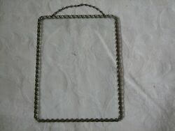Unusual Antique Hanging Picture Frame Chain Around Glass Rectangular 5x7 Inches $12.00