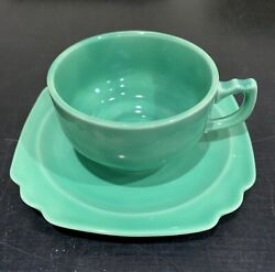 "Vintage Homer Laughlin Riviera Cup amp; 6"" Saucer Green $15.00"