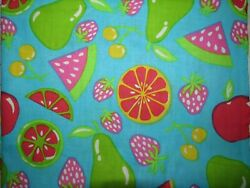All Over Fruit Print on Teal Pears Melons Berries Cherries By the Half Yd. $5.00