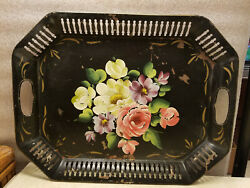 Vintage Tole Hand Painted Floral Metal Tray Octagon Rectangle 17.5quot; x 13.5quot; $34.99