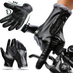 Winter Touchscreen Warm Driving Gloves Leather GlovesTactical Motorcycle Mitten $10.98