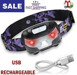 Flashlight Headlamp USB Rechargeable Hands Free Head Band Outdoor Lamp LED Light $12.99