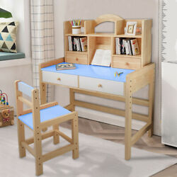 US Wooden Student Desk And Chair Set Adjustable Height W 2 Drawers amp; Bookshelve $120.71