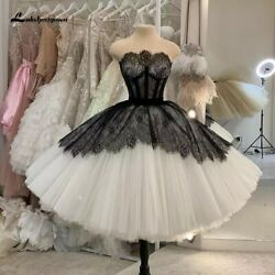 Boho Lace Wedding Dresses Short Strapless Black Gothic Wedding Gown Knee Length