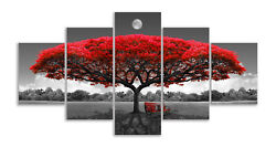 Red Wall Paintings Tree Canvas Wall Art Moon Landscape Pictures for Living Room $148.58